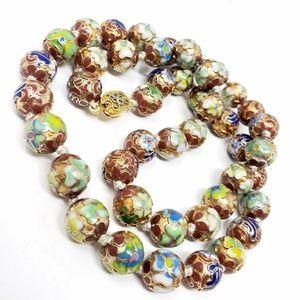 Beautiful Vintage Cloisonne Metal Bead Necklace